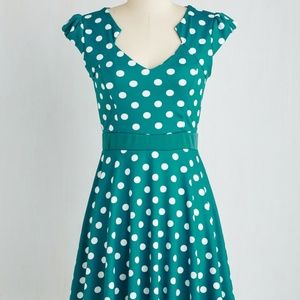 Modcloth Story of Citrus Dress in Teal Polka Dots